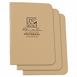 All Weather Notebook, Tan, Universal, PK3