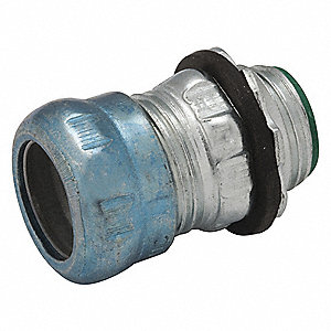 "2"" EMT Insulated Compression Connector, Rain Tight, 2-13/32"" Overall Length"