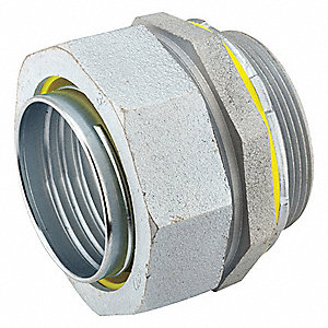Malleable Iron/Steel Noninsulated Connector, Connector Type: Straight, Conduit Size:  1/2""