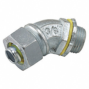 Malleable Iron/Steel Noninsulated Connector, Connector Type: 45°, Conduit Size:  1/2""