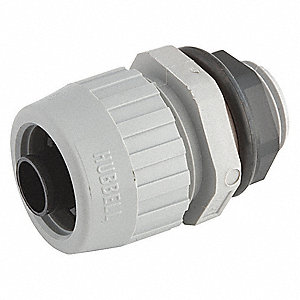 "Liquid Tight Conduit Fitting, 1"", Straight, Box Connection: 1"" MNPT, Nylon"