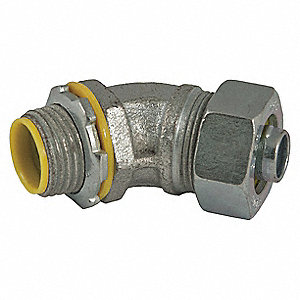 Malleable Iron/Steel Insulated Connector, Connector Type: 45°, Conduit Size:  1-1/2""