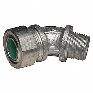 "2-9/16""L Malleable Iron Liquid Tight Cord Connector, Silver, 0.45"" to 0.56"" Cord Dia. Range"