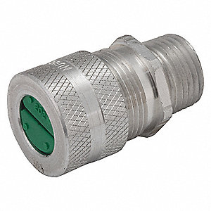 "2-5/16""L Aluminum Liquid Tight Cord Connector, Silver, 0.38"" to 0.50"" Cord Dia. Range"