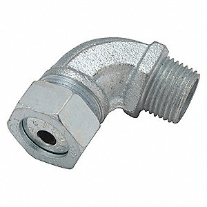 "3-3/4""L Malleable Iron Liquid Tight Cord Connector, Silver, 0.45"" to 0.56"" Cord Dia. Range"