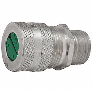 "7/8""L Aluminum Liquid Tight Cord Connector, Silver, 0.25"" to 0.31"" Cord Dia. Range"