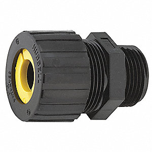 "2-1/32""L Nylon Liquid Tight Cord Connector, Black, 0.50"" to 0.63"" Cord Dia. Range"