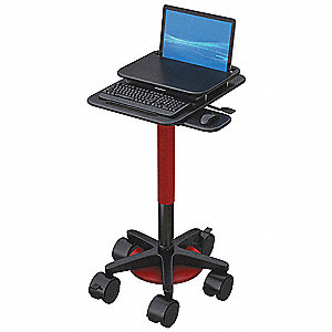 "Laptop Cart, Black, 25"" H x 24"" W, 25 lb."
