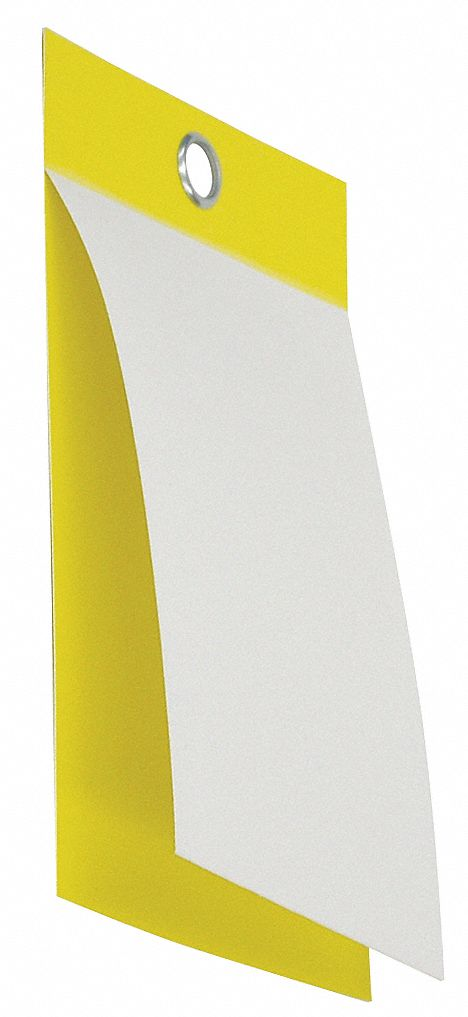 Blank Self-Laminating Tag, Polyester Laminate Flap, Vinyl, Height: 5 in, Width: 3 1/8 in, Yellow