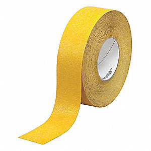 "Solid Yellow Anti-Slip Tape, 1"" x 60.0 ft., 60 Grit Aluminum Oxide, Rubber Adhesive, 4 PK"