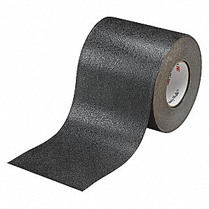 "Solid Black Anti-Slip Tape, 6"" x 60.0 ft., 60 Grit Aluminum Oxide, Rubber Adhesive, 1 EA"