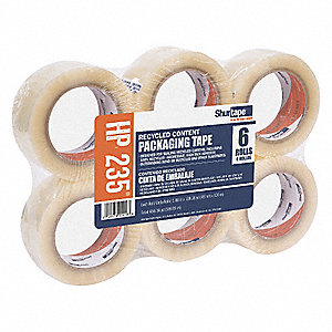 Polypropylene Carton Sealing Tape, Hot Melt Resin Adhesive, 48mm X 100m, 6 PK