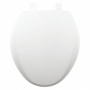 "Toilet Seat, Round, With Cover, 16-3/4"" Bolt to Seat Front"