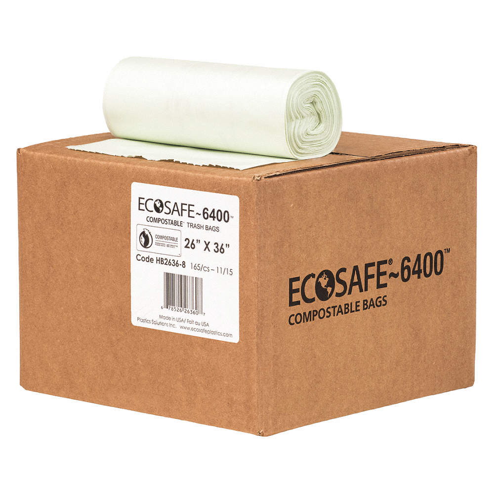 ECOSAFE 6400 Compostable Bag 20gal 0 85mil 26 W PK165 HB2636 8
