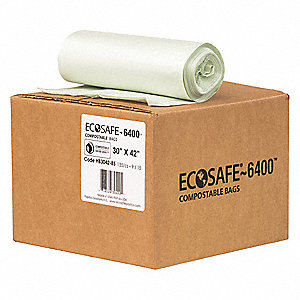 Compostable Trash Bag,  35 gal,  Compostable Material,  Coreless Roll,  Green,  PK 135