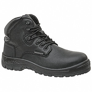 "6""H Unisex Hiking Boots, Composite Toe Type, Black, Size 7W"