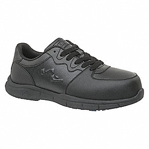 "4""H Men's Athletic Style Work Shoes, Composite Toe Type, Black, Size 7-1/2M"