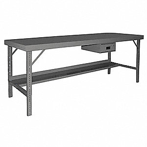 "Adjustable Height Work Table, Steel, 30"" Depth, 28"" to 42"" Height, 120"" Width,2000 lb. Load Capacity"