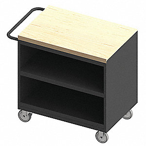 "Mobile Cabinet Workbench, Maple, 24"" Depth, 37-1/8"" Height, 36"" Width"