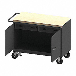 "Mobile Cabinet Workbench, Maple, 24"" Depth, 38-1/2"" Height, 48"" Width"