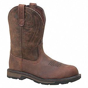 "10""H Men's Work Boots, Steel Toe Type, Brown, Size 11-1/2D"