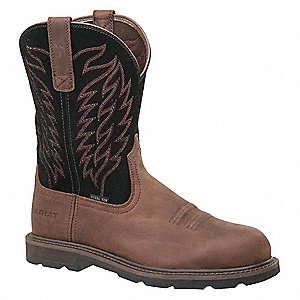 "10""H Men's Work Boots, Steel Toe Type, Brown/Black, Size 10EE"