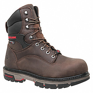 "8""H Men's Work Boots, Composite Toe Type, Dark Brown, Size 9EW"