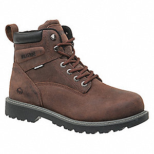 "6""H Men's Work Boots, Steel Toe Type, Dark Brown, Size 9-1/2EW"