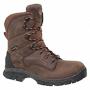 "8""H Men's Work Boots, Composite Toe Type, Brown, Size 12EW"