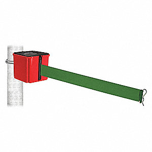 Retractable Belt Barrier, Green, None