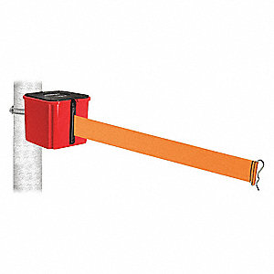 Retractable Belt Barrier, Orange, None