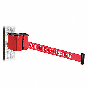 Retractable Belt Barrier, Red, Authorized Access Only