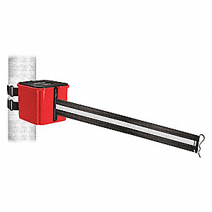 Retractable Belt Barrier, Black and White Horizontal Striped, None