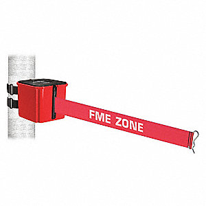 Retractable Belt Barrier, Red with White Text, FME ZONE