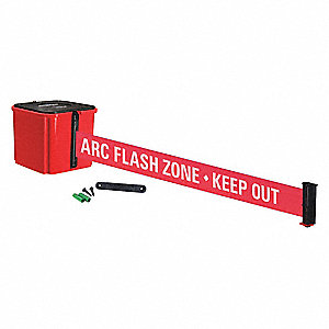 Retractable Belt Barrier, Red, ARC Flash Zone - Keep Out