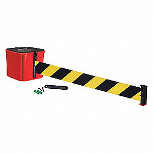 Retractable Belt Barrier, Black and Yellow Diagonal Striped, None