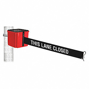 Retractable Belt Barrier, Black with White Text, This Lane Closed