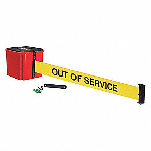 Retractable Belt Barrier, Yellow with Black Text, Out of Service