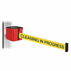 Retractable Belt Barrier, Yellow with Black Text, Cleaning in Progress