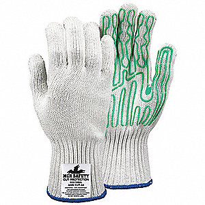 Cut Resistant Gloves, ANSI/ISEA Cut Level 5 Lining, Green, White, M, EA 1