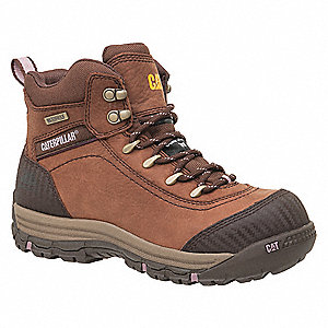 "6""H Women's Work Boots, Composite Toe Type, Brown, Size 7-1/2W"