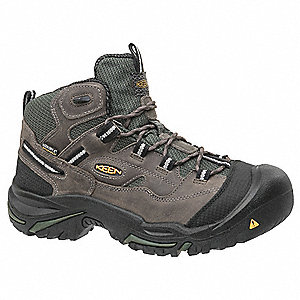 "5""H Men's Work Boots, Steel Toe Type, Gray, Size 7-1/2D"