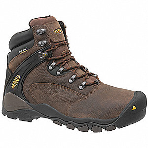 "6""H Men's Work Boots, Steel Toe Type, Brown, Size 9-1/2D"