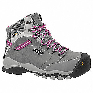 "5""H Women's Work Boots, Steel Toe Type, Gray, Size 8W"