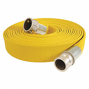 "50 ft. Yellow Water Discharge Hose, 3"" Fitting Size, 250 psi"