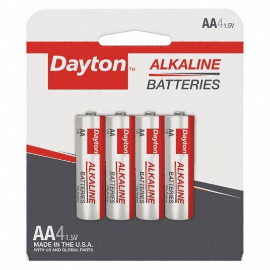 Dayton Dayton Aa Battery Alkaline Everyday 1 5v Dc Pk 4 52eg75 Grain815 4f Grainger