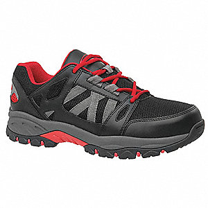 LowH Men's Work Boots, Steel Toe Type, Black/Red, Size 12W