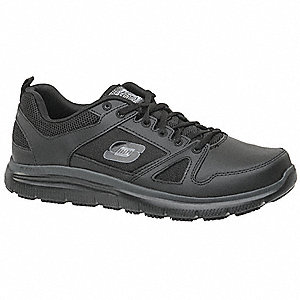 "3""H Men's Athletic Shoes, Plain Toe Type, Black, Size 10"