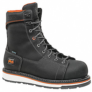 "8""H Men's Work Boots, Alloy Toe Type, Black, Size 8-1/2W"