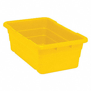 "Cross Stacking Container, Yellow, 8-1/2""H x 25-1/8""L x 16""W, 1EA"